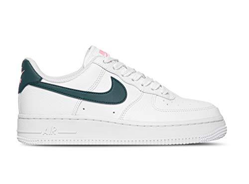 Nike Wmns Air Force 1 '07, Zapatillas de bsquetbol Mujer, White Dk Teal Green Sunset Pulse White White White, 42 EU