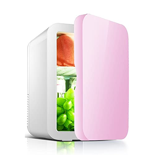 LK-HOME Mini Fridge, Chip Cooling And Heating Insulation 8L Capacity, Suitable for Bedroom And Car Quiet Portable Practical Refrigerator,Pink