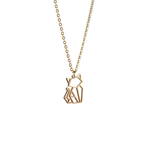 La Menagerie Katze Gold, Origami-Schmuck & vergoldete geometrische Kette - 18-karätig Goldkette & Katze-Halsketten für Frauen - Katze-Halskette für Mädchen & Origami-Halskette