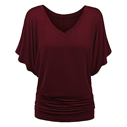 Jersey Informal De Primavera Y Verano para Mujer, con Cuello En V, Color SóLido, Suelto, De Gran TamañO, De Manga Corta, Camiseta para Mujer