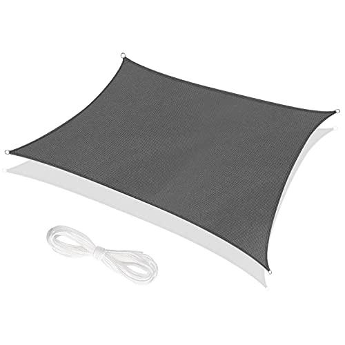 RATEL Toldo Vela de Sombra Rectangular Gris 3 x 4 m, protección 95% UV y Transpirable, para Jardín, Patio, Exteriores, Pergola Decking