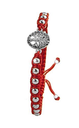 PAPOLY Pulseras de Macramé en Color Rojo, Bolas y Medallonson de Plata DE Ley 925 con Swarovski Crystal,Se Ajusta fácilmente.M.Rojo (ARBOL)