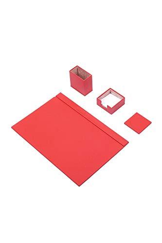 Calme-D - Juego de 4 protectores de escritorio de 49 cm x 34 cm, de piel sintética, en 10 colores a elegir, color: rojo