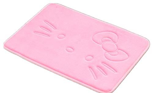 Alfombra de baño con diseño de dibujos animados, color rosa, supersuave, de espuma viscoelástica, antideslizante, absorbente, alfombrilla de cocina, alfombrilla de bienvenida de...