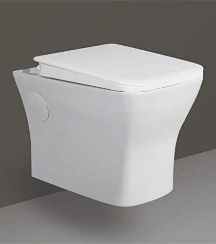B Backline Ceramic Wall Mount/Wall Hung Western Toilet/Commode/Water Closet/European Commode P Trap Outlet Is From WALL With Soft Close Seat Cover (White Glossy) for Bathrooms (Style 2)