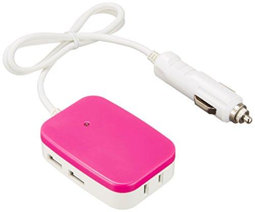 メルテック 車載用モバイルタップインバーター 2way(USB&コンセント) DC12V コンセント1口30W USB2口2.1A ピンク Meltec MTU-30P