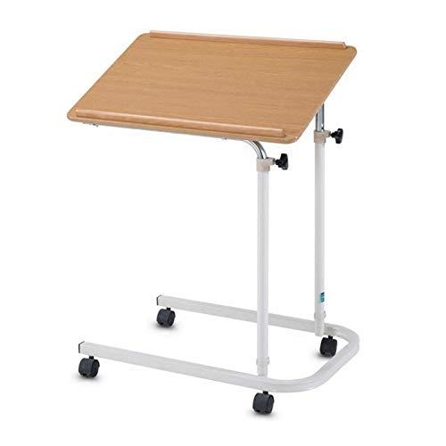 ABD Mesa sobrecama con ruedas, mesa de ordenador portátil, altura ajustable, mesa de café, mesa auxiliar portátil, bandeja de escritorio portátil para sofá, cama, balcón (color rojo cerezo)