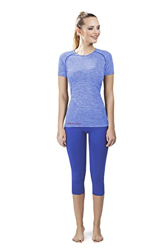 EMMITOU Duo Active Fitness T-Shirt Femmes 01, Melange Bleu, L