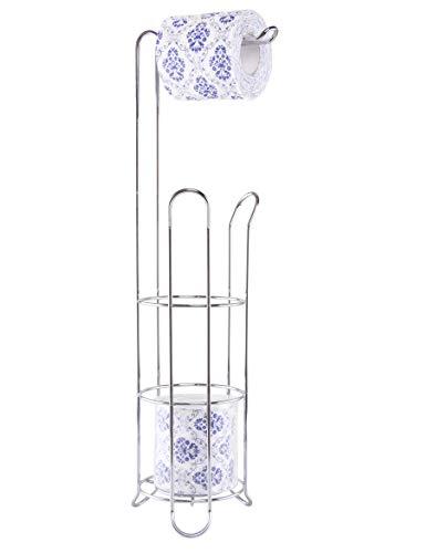EXZACT Portarrollos para papel higiénico/Soporte de papel higiénico/Portarrollos para baño - Dispensador de rollo con marco de alambre de pie, Almacenamiento de rollo de acero inoxidable 3/4