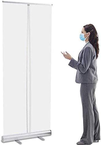Bodenstehender, aufrollbarer Niesenschutz für Theke, mit einziehbarem transparentem Bildschirmschutz und Aufbewahrungstasche, einfach zu installieren und zu bewegen, Raumteiler, Aluminium-Legierung