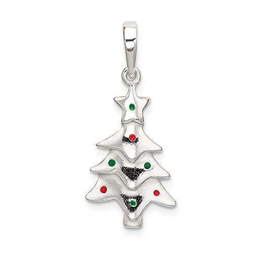 Saris and Things 925 sterlingsilber-poliert enameled Weihnachtsbaum anhänger in Form von