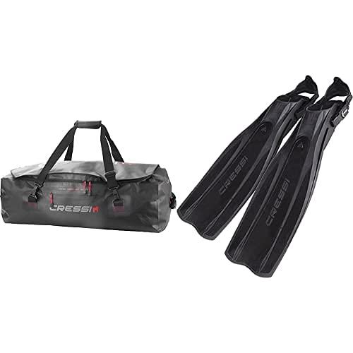 Cressi Gorilla Pro Bag Bolsa De Buceo, Unisex Adulto, Negro, 135 litros, XL + Pro Light Aletas, Unisex, Negro, M/L