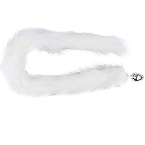BONDAGERIE® Coda Lunga, colore Bianco con plug in acciaio, varie misur