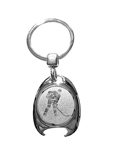 Eishockey Motiv Schlüsselanhänger, silberfarben, in eleganter Geschenkbox mit Einkaufswagenchip und Flaschenöffner | Geschenk | Männer | Frauen | Sport | Chip | Einkaufschip | Öffner