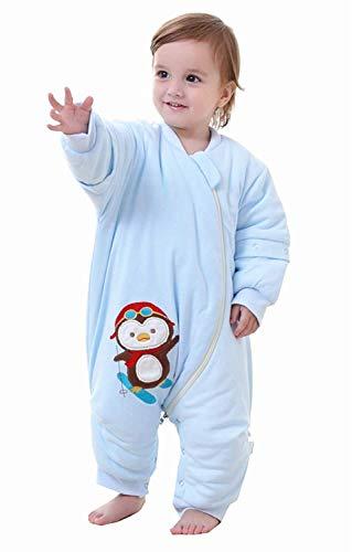 Pasen Unisex Baby Winter Slaapzak Met Benen Afneembare Lange Mouw Eenvoudige Stijl Pyjama Een Stuk Romper Sneeuwpak Peuters Slaapzakken Met Voeten Blauw 2.5 Tog 100 Lichaam Maat 110 120Cm