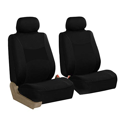 FH Group FB030102 Light & Breezy Black Cloth Seat Cover Set Airbag Compatible, Solid Black Color, Fit Most Car, Truck, SUV, or Van