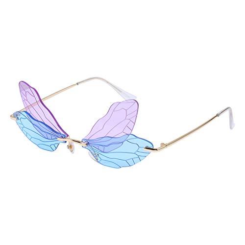 Amosfun Óculos de Sol da Moda Com Asas de Libélula Aro para Mulheres Homens Aros Óculos Escuros Óculos de Sol de Festa (Roxo E Azul)