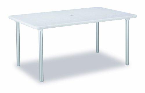 Best 49351600 uittrektafel Tavolo 160/220 x 100 x 73 cm, zilver/wit