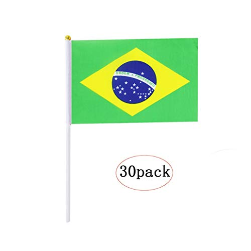 Brazil Stick Flag,Brazilian Hand Held Mini Small Flags On Stick International Country World Stick Flags For Party Classroom Garden Olympics Festival Parades Parties Desk Decorations(30 pack)