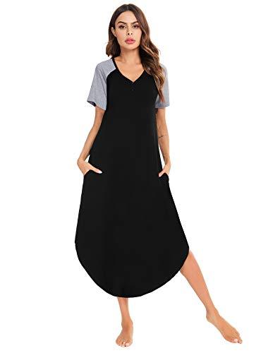 Aibrou Camison Mujer Manga Corta Camisón de Algodón Largo Camisones Mujer Verano Loungewear Elegante