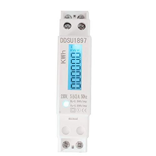 Conpush LCD digitaler Wechselstromzähler Stromzähler Wattmeter mit Leistungsanzeige 5(60) A für Hutschiene mit S0 Schnittstelle