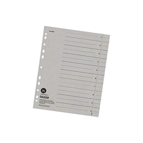 Original Falken 100er Pack Trennblätter. Made in Germany. Aus Recycling-Karton für DIN A4 grau Trennlaschen Trennblätter Ordner Register Kalender Blauer Engel