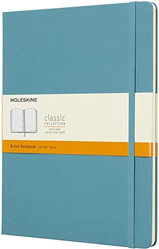 Moleskine Classic Notebook, Taccuino a Righe, Copertina Rigida e Chiusura ad Elastico, Formato XL 19 x 25 cm, Colore Azzurro Blu Reef, 192 Pagine