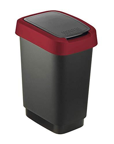 Rotho, Twist, Contenitore per rifiuti 10l con coperchio, può essere utilizzato come coperchio a battente o a cerniera, Plastica (PP) senza BPA, nero/rosso, 10l (24,8 x 18,1 x 33,0 cm)
