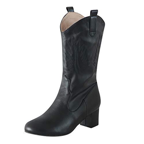 TPulling Damen Stiefelette hochwertige Lederstiefelette Bikerboots  Stiefeletten Biker Boots Cowgirl...