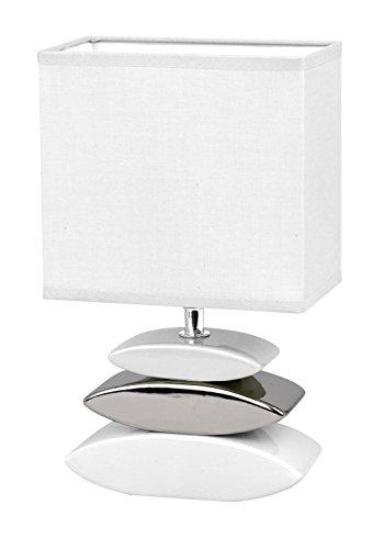 Honsel 53581 - Lámpara de mesa, color blanco y pleatedo, cristal