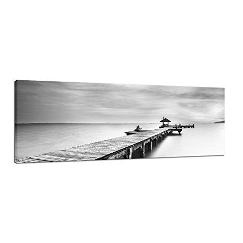 Pyradecor Large Black and White Peace Ocean Bridge Landscape Giclee Canvas Prints Modern Gallery