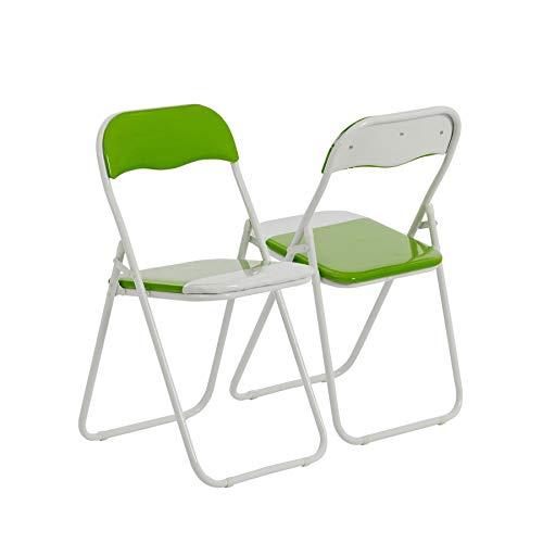 Chaise pliante rembourrée - pour le bureau - vert/blanc - lot de 2