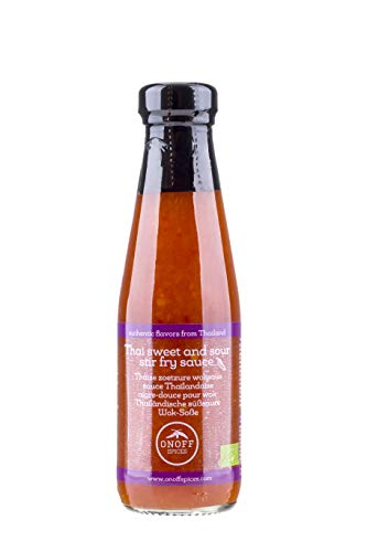 ONOFF Thailändische Wok-Soße süß-sauer - Authentisches Produkt - Mit Ananas & Chili - Für Reis, Gemüse, Dips, Fleisch & Fisch - Frisch, Bio, vegan & glutenfrei - Asiatische Lebensmittel - 200 ml