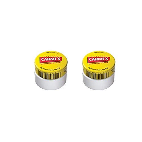 Carmex Lip Balm Original, Cherry o Strawberry 2 Pack - Bálsamo labial original Pot Pack de 2… (Carmex Pot Original)