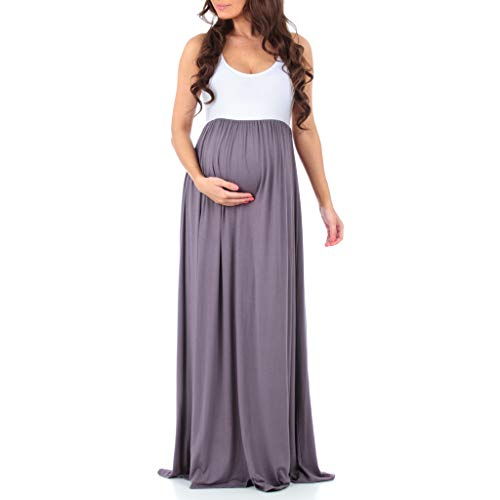 Sleeveless Ruched Color Block Maxi Maternity Dress for Baby Shower or Casual Wear