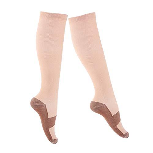 Baoblaze Paire de Chaussettes de Compression pour Homme et Femme, Meilleure Forme Sportive pour Courir - couleur de la peau, S