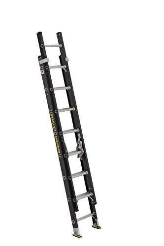 Stanley SXL3121-16 ft 250-lb FatMax Fiberglass Extension Ladder 16-Foot 250-Pound Load Capacity, Black