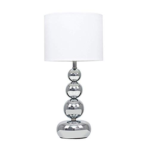 Minisun - Lámpara de Mesa Táctil Moderna Cromada – Base de Esferas Apiladas con Pantalla Blanca – Iluminación Interior