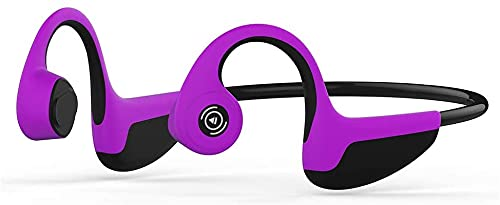 Easycosy Auriculares Bluetooth inalámbricos, deportivos conducción de hueso, BT 5.0 con micrófono, titanio, Hi-Fi, estéreo, para ciclismo, gimnasio, color morado