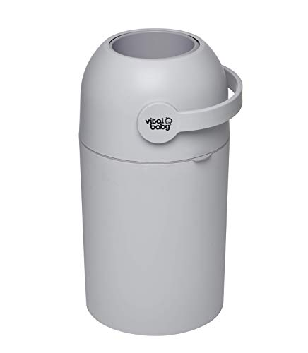 vital baby HYGIENE Odour-Trap Nappy Disposal System, No Refills, Odour-Free, Nappy Bin, Grey, Holds up to 25 Nappies, Suitable for Disposable and Reusable Nappies