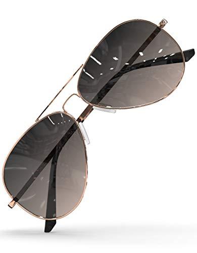 LUENX Herren Sonnenbrille Polarisiertes Schwarz and Braun Linse- UV 400 Rosa Gold Metall Rahmen 60mm