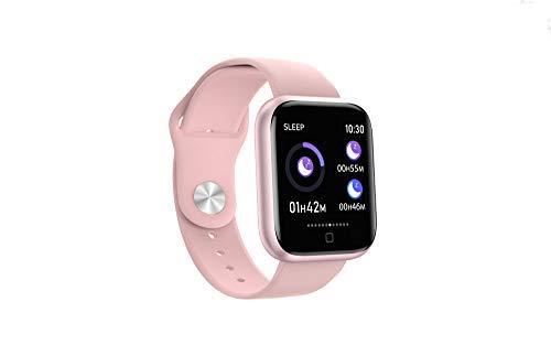 QLKJ Reloj Inteligente Mujer y Hombre Impermeable Pulsera Actividad Deportivo con Monitor de Sueño Pulsómetro Pantalla Táctil Completa Reloj Fitness,Pink Silicone
