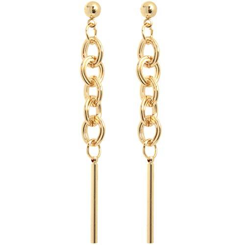 2LIVEfor Lange Ohrringe Gold Ketten groß Ohrhänger Retro Ohrringe lang hängend Tassel Gold Vintage große Glieder Lange Tropfenform Modern