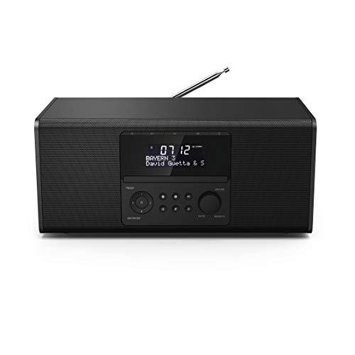 Hama DAB+ Radio mit CD-Player (Bluetooth/USB/UKW/DAB Digitalradio, Radio-Wecker mit 2 Alarmzeiten/Snooze/Timer, 4 Stationstasten, Stereo, beleuchtetes Display) schwarz