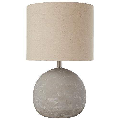 Amazon Brand – Stone & Beam Industrial Round Concrete Table Desk Lamp with Light Bulb and Beige Shade, 16'H, Brushed Nickel