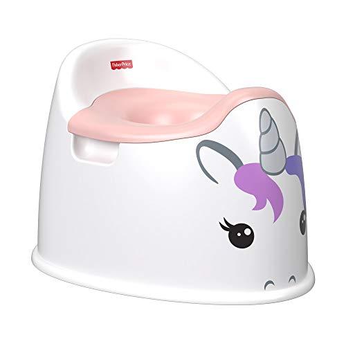 Fisher-Price GCJ73 - Einhorn-Töpfchen, Toilettentrainer mit integriertem Spritzschutz für Kleinkinder, weiß