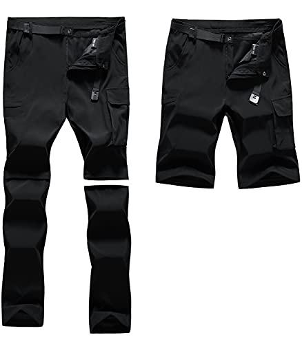 CARETOO Pantaloni da trekking, da uomo, con cerniera lampo, in softshell, impermeabili, da montagna, traspiranti, rimovibili, estivi Nero M