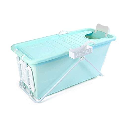 WSJTT Bañera plegable para adultos, bañera de plástico con tapa (color: verde claro), color azul cielo