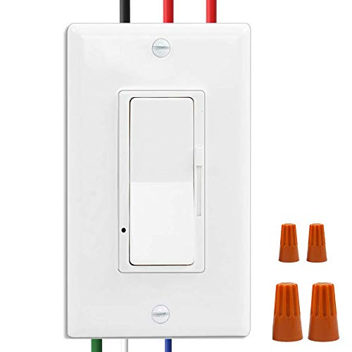Wall Switch, 0-10V On/Off LED Dimmer Switch for Dimmable LED Panel Lights, CFL, Halogen and Incandescent Bulbs, with Wallplate, Single-Pole/3-Way