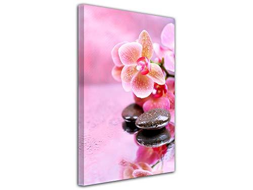 DECLINA decoratieve wandfoto, wanddecoratie woonkamer, bedrukt afbeelding, deco, bloemen en kiezel, 30 x 50 cm, roze 100x150 cm Roze